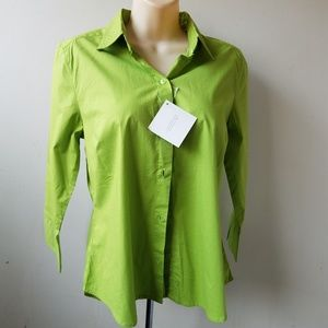 Green Button Down 3/4 Sleeve Stretch Top